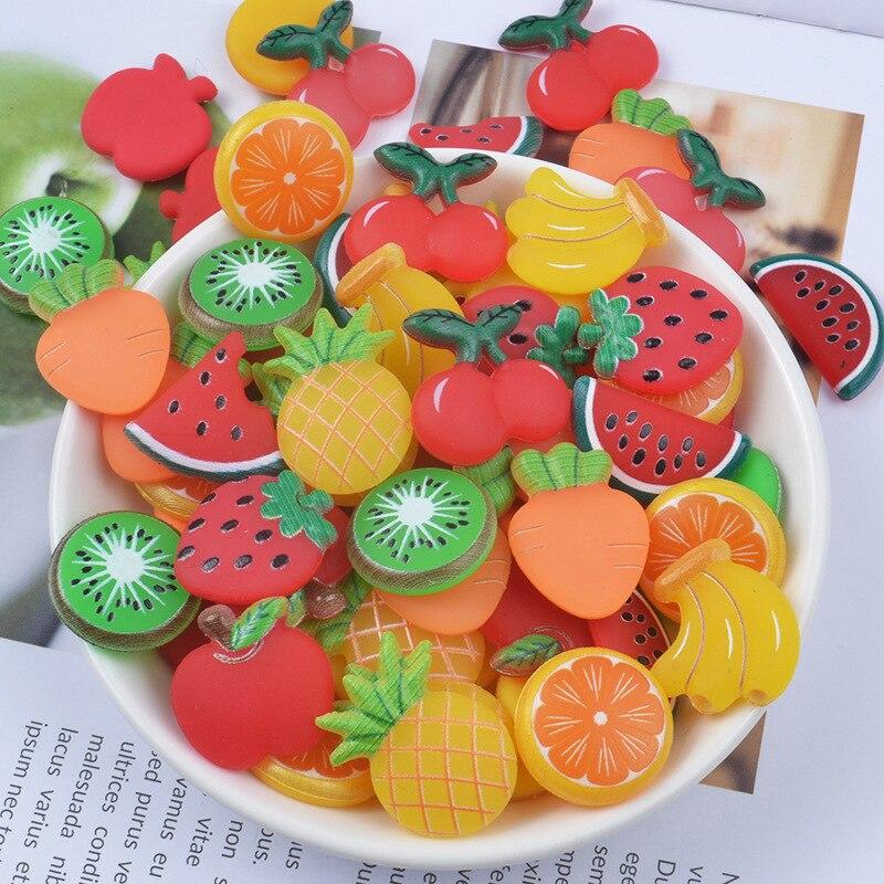 10 piezas de fruta fresa banana rebanadas de relleno para pinza de pelo joyería limo fruta para niños DIY accesorios de limo suministros de decoración