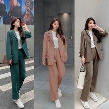 Printemps automne femmes bureau costume deux pièces Pantsuit élégant Blazer Girly femme ensemble pantalon décontracté coupe large veste travail vêtements