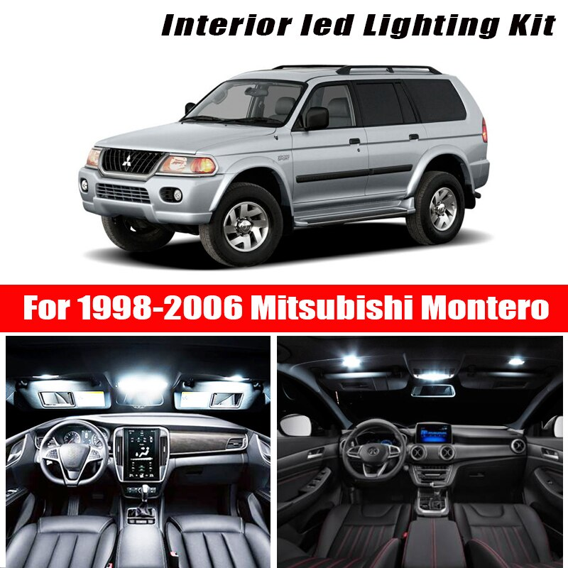 Para Mitsubishi Montero 1998-2006, accesorios blancos para coche, Canbus, luz LED Interior sin errores, Kit de luz de lectura, licencia de domo de mapa