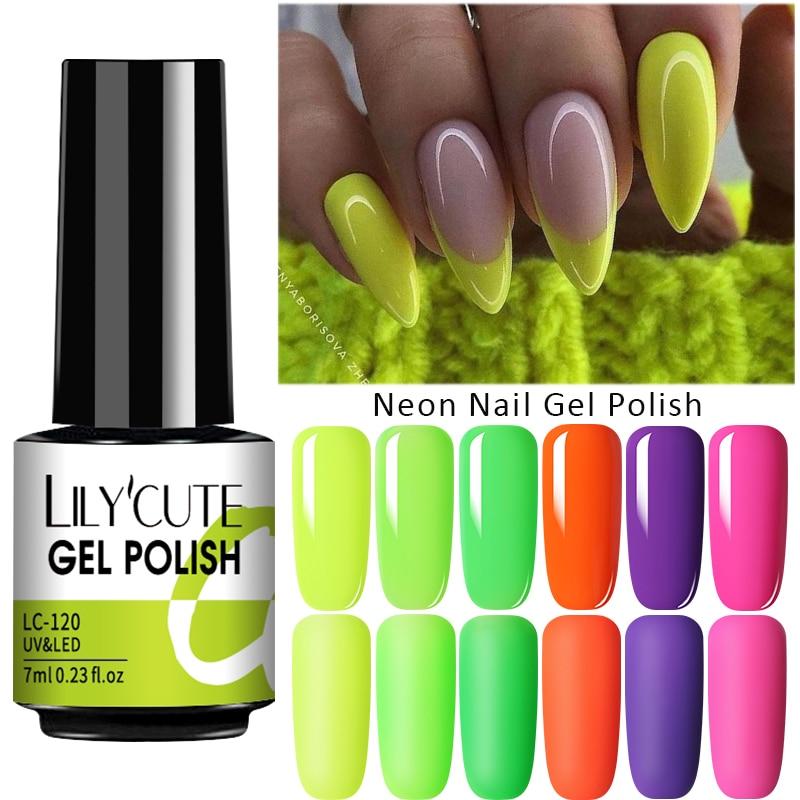 LILYCUTE Fluorescent Nail Gel Polish  Nail Color Glitter Sequins Matte Effect Gel Long Lasting Base