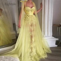 dubai evening dresses 2020 sweetheart appliques with flowers a line tulle yellow prom gown arabic muslim lace party dresses