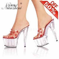 sexy summer thick platform rransparent crystal red lips womens slippers 15cm stiletto heels 6 inches round toe nightclub models