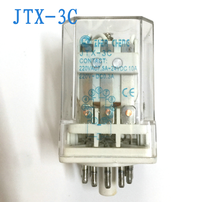 24V DC 12 V 220V AC36V bobina 3PDT 11 pines relé electromagnético NO 3 3 NC JTX- 3C