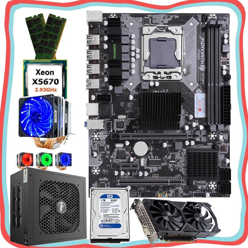 Huananzhi qualidade peças de computador x58 placa-mãe com cpu intel xeon x5670 2.93 ghz ram 32g (2*16g) 1 tb hdd psu 500 w gpu gtx1050ti 4g