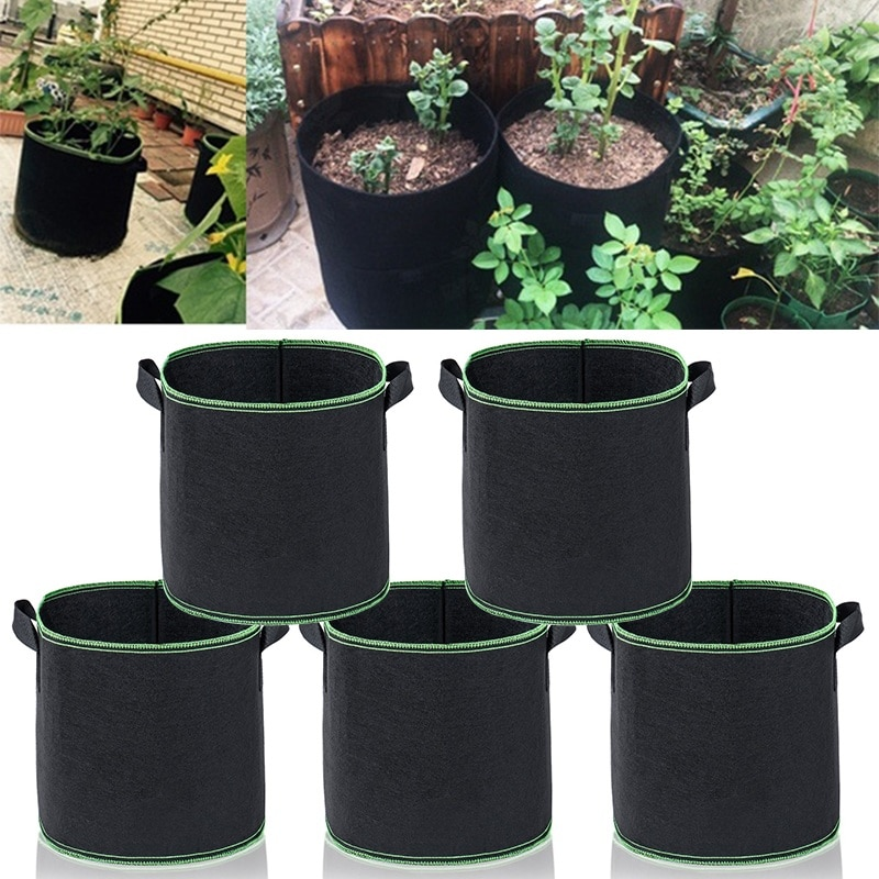 1 2 3 5 7 gallon green plant grow bag non woven fabric vegetable trees flower container cup nursery garden supplies flowerpot 1/3/5 Pcs Growing Bags Plant Grow Bags Non-woven Fabric Garden Vases Pot Planters Planting Growing Pots Bag 1/3/5/10 Gallon