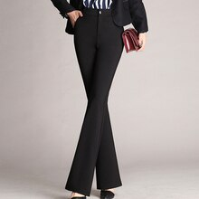 Pantalon femme grande taille costume Flare pantalon taille haute coupe pantalon EIG88