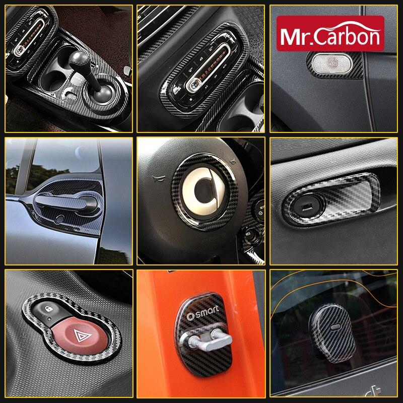 Decoración de estilo de coche de fibra de carbono, accesorios de decoración de acero inoxidable modificado, adecuado para Smart Fortwo 453 2015-2020