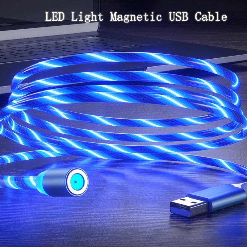 Cabo luminoso magnético micro usb com led, para samsung s3 s4 s5 s6 s7 edge a10 a5 a7 j3 j5 j7 2016 2017 micro fio de carga rápida