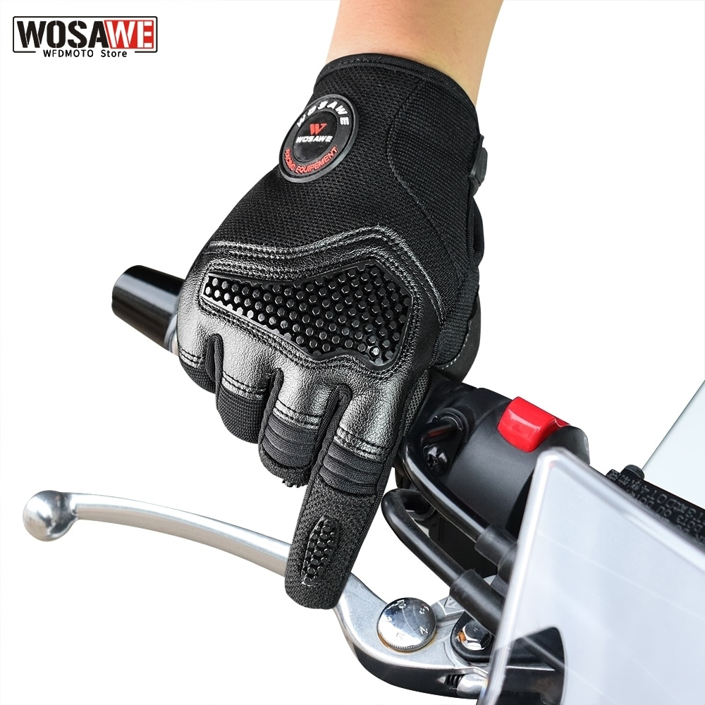 free shipping newest rs 390 full skin perforated carbon fiber glove motorcycle racing gloves full finger 3 size 3 color WOSAWE Full Finger Motorcycle Gloves Men Motocross Gloves Motorbike Cycling Riding Protective Guantes Racing Glove