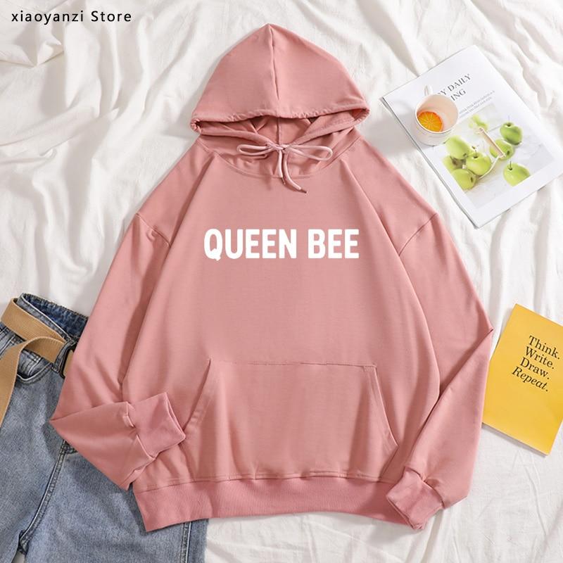QUEEN BEE Eat A Lot Sleep A Lot letras impresas mujeres hoodies algodón Casual sudaderas para señora ropa deportiva Hipster OT203-492
