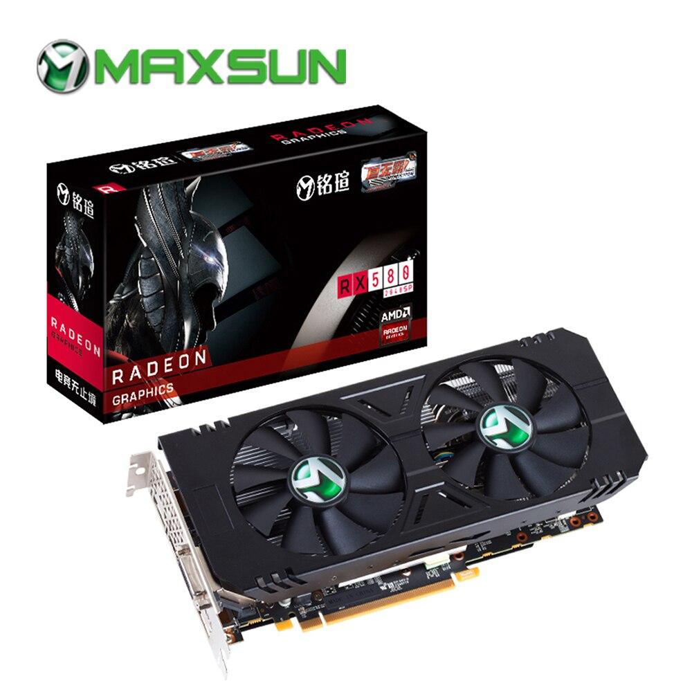 MAXSUN rx 580 8gb graphic card pc gpu GDDR5 AMD 1168-1284MHz 256bit 7000MHz 2048units HDMI+DP*3+DVI PWM rx580 8g video card