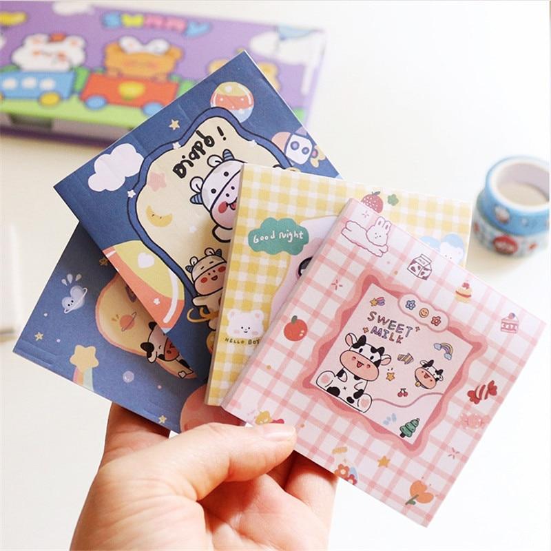 Корейская Милая канцелярия Школьные принадлежности, блокнот для записей с изображением коровы, Симпатичные блокноты для записей, клейкие в...