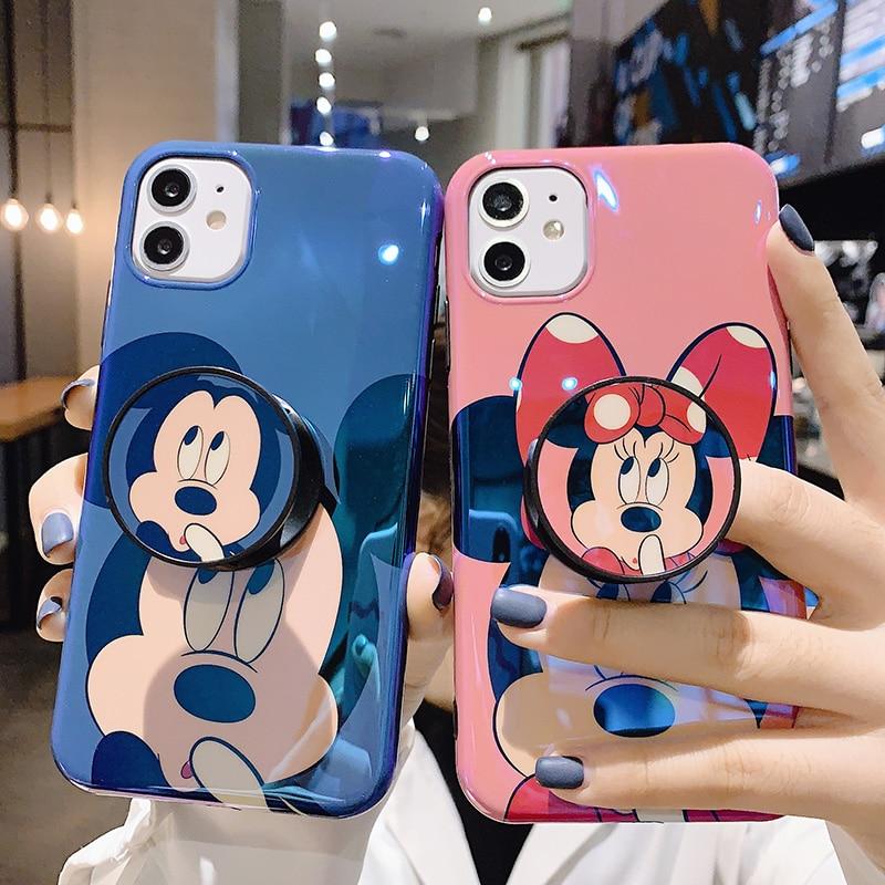 Bonita funda de silicona blanda de Mickey Minnie blu-ray para iphone 11 11Pro max Xr Xs Max X 7 8 Plus