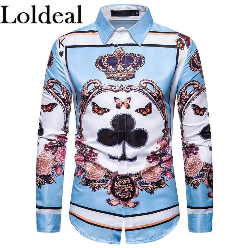 Loldeal Mens Shirt Printed Plum Blossom Head Long Sleeve Shirt Beach Shirt Casual Button