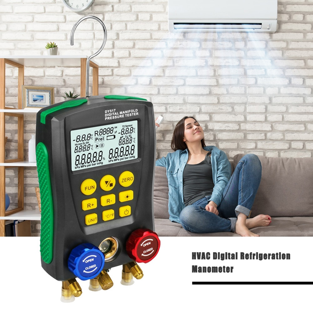 مقياس ضغط رقمي DY517A, مقياس ضغط رقمي للتبريد جهاز فحص ضغط الفراغ مراقب التسرب كاشف أدوات اختبار درجة الحرارة