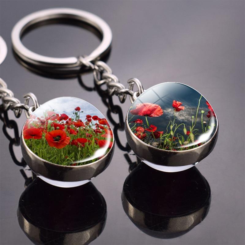 Брелок в виде цветка Poppy flower брелок двухсторонний стеклянный шар брелок подвеска брелок