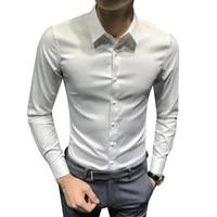 Chemise cintree a manches longues pour hommes  decontractee  en coton  blanche  noire  adaptee a la mode  2021