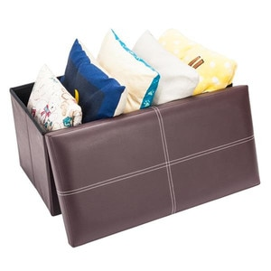 Functional Storage Foot Stool PU Leather Footstool with Leather Footstool Home Storage Cabinet Storage Seat Box Removable