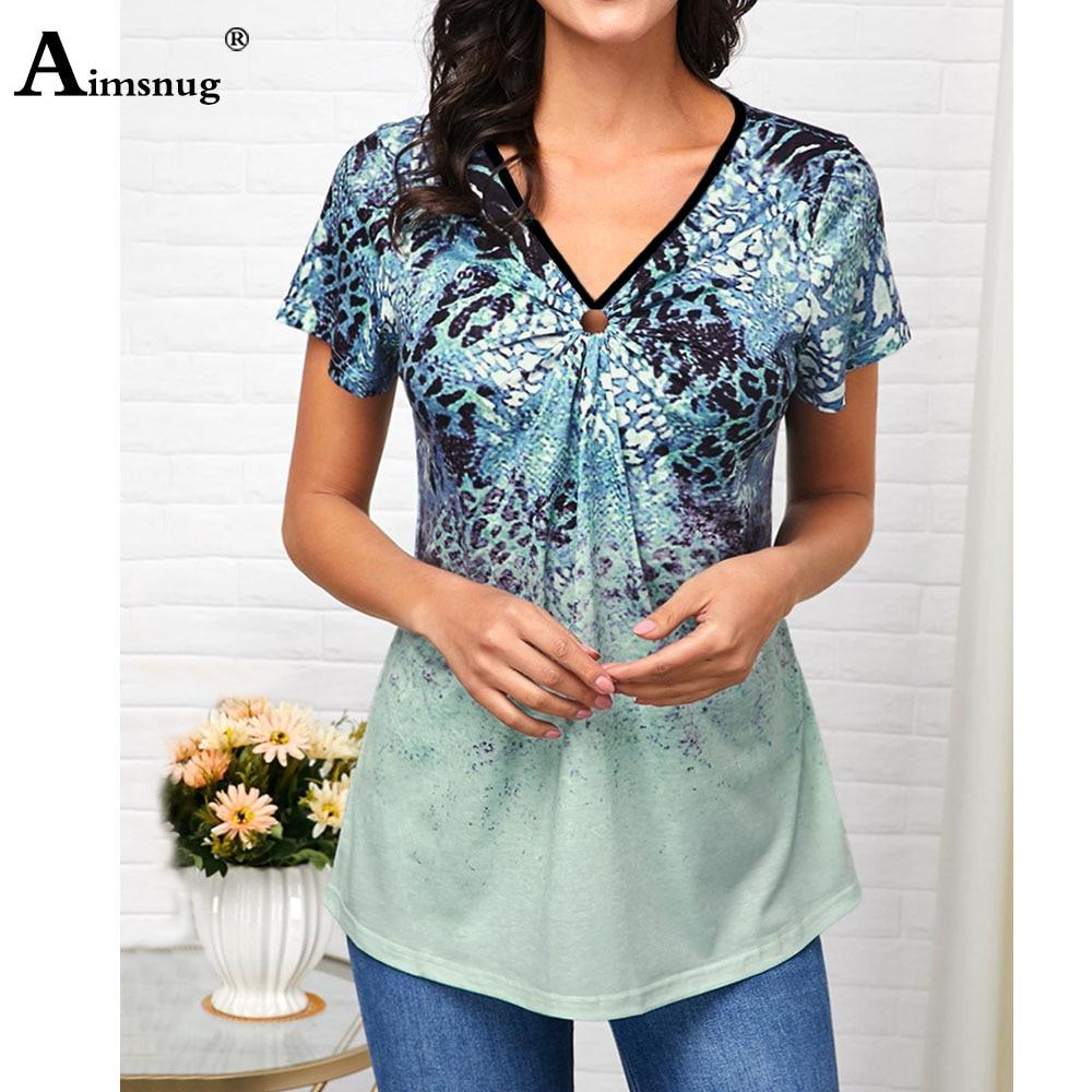 Plus Size 4xl 5x T-shirt Boho Print Female Tops Fashion Ring V-neck Short Sleeve Loose Tees 2020 Summer Casual Shirts Womens
