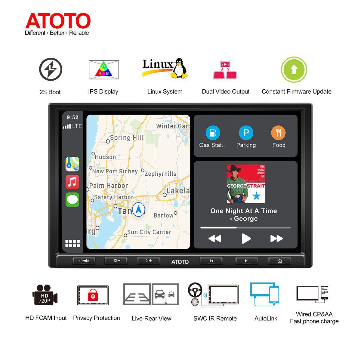 Мультимедийный проигрыватель ATOTO F7 Pro, автомобильная стерео-магнитола для CarPlay, 8 дюймов, 2DIN, для США, Канады, Мексики