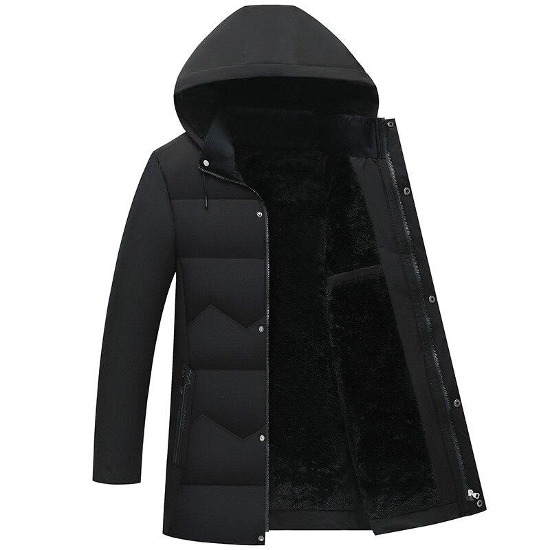 LUCLESAM зимние мужские теплые пуховики, мужские плюшевые толстые парки, пальто средней длины
