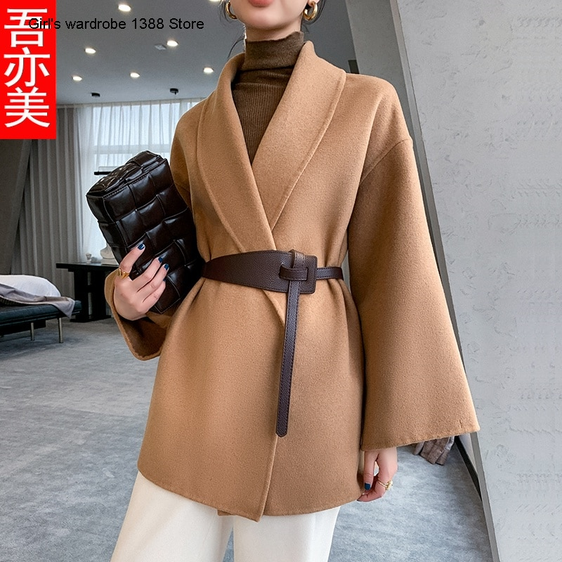 Small suit cashmere coat women's short 2020 new camel silhouette double face woolen coat waistband