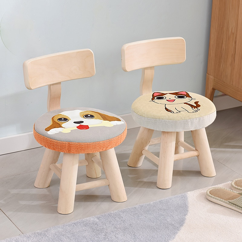 Wooden stool under small bench home shoe adults and children shoe changing stools under stools for room cartoon animal stool for children home furniture
