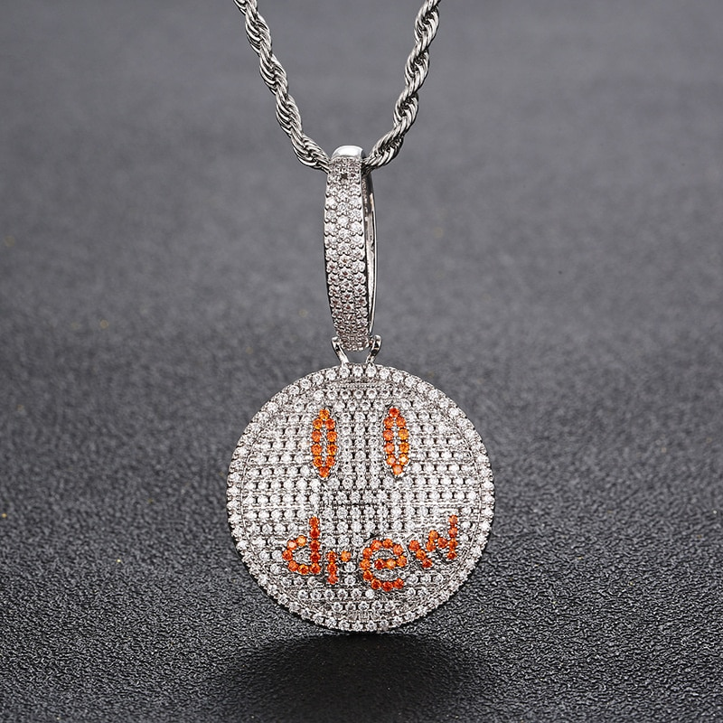 Singer Justin Bieber same pendant hip hop drew smiling face trendsetter pendant full of zircon necklace accessories