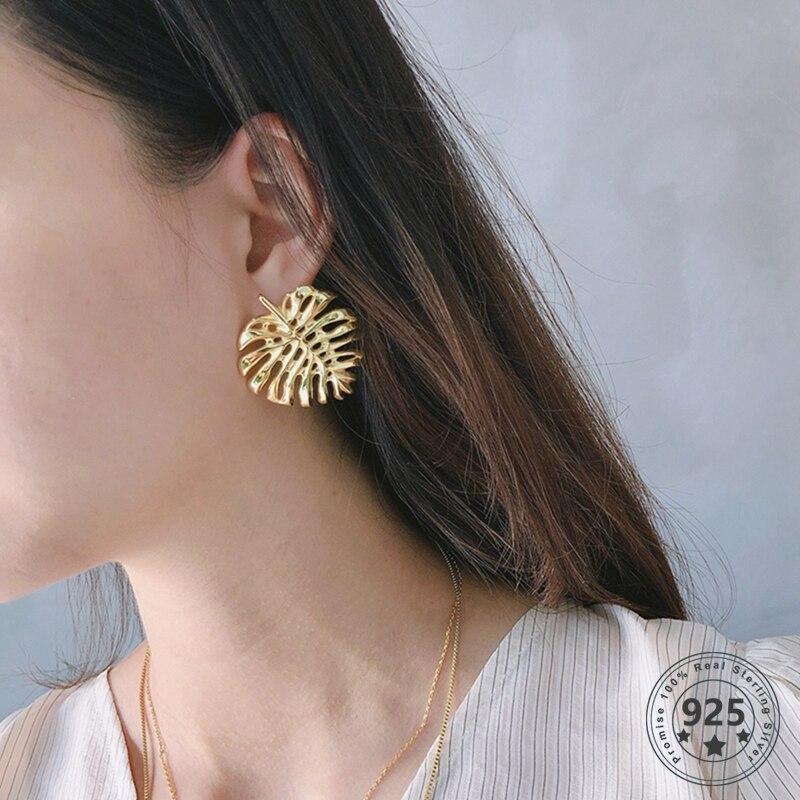 Pendientes Louleur de Plata de Ley 925 con forma de hoja de tuerca, pendientes de oro de seguridad de una sola pieza para mujer, joyería de moda, regalos de verano