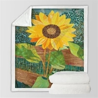 sunflower 3d printed fleece blanket beds hiking picnic thick fashionable bedspread sherpa throw blanket 02