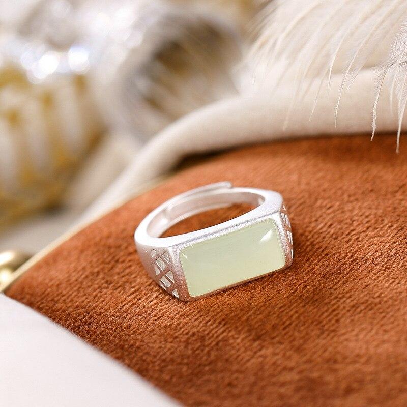 Original Design Natural Hetian White Jade Ring Opening 925 Silver Rings For Women Fine Jewelry K0034