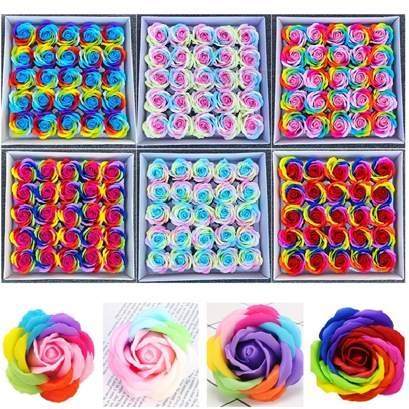 صابون على شكل قوس قزح مع ورود صناعية ، 25 قطعة ، باقة زهور ، مواد للزفاف ، عيد الحب ، DIY