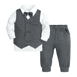 Striped Baby Boys Formal Suit Set Vest Shirt Pant 3Pcs Toddler Kids Wedding Ring Bearer Wear Little gentleman Outfit