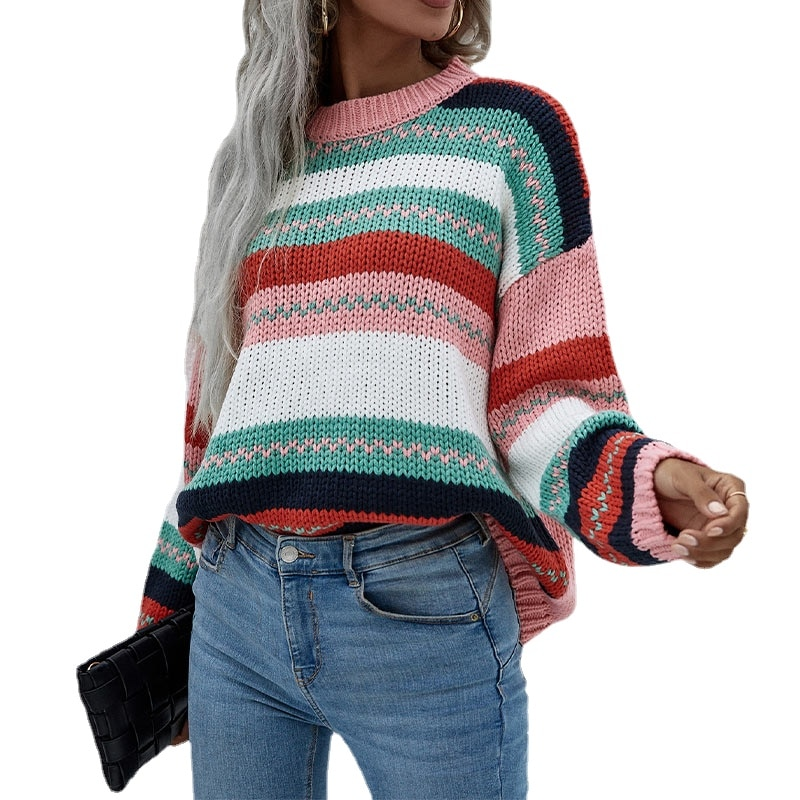 Knitted Panelled Striped Women's sweater Long Sleeve 2021 Autumn Winter Drop Shoulder Pullovers Female Loose Fashion Jersey Girl enlarge