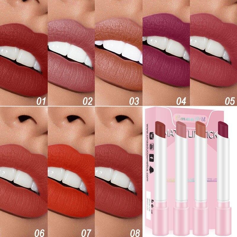 Lápiz labial duradero, resistente al agua, textura Semi mate, terciopelo, superficie antiniebla, multicolor, Sexy, Nude, labio maquillaje cosméticos TSLM1