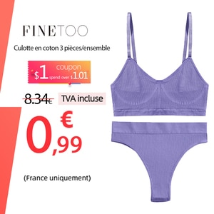 FINETOO Seamless Women Top Panties Set Cotton Tops Low Waist G-String Underwear Set Soft Active Wear Lingerie Fitness Crop Top