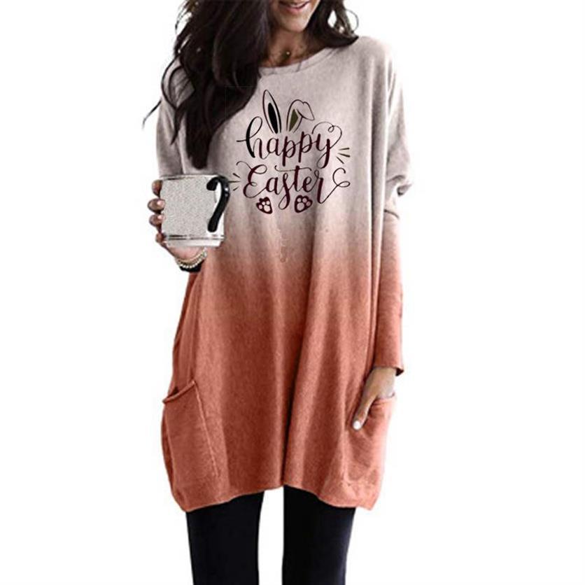 2021 Gradient Long Sleeve Pocket T-Shirt Letters Print Long T-Shirt For Women Harajuku Women Leisure Plus Size Tops T Shirt