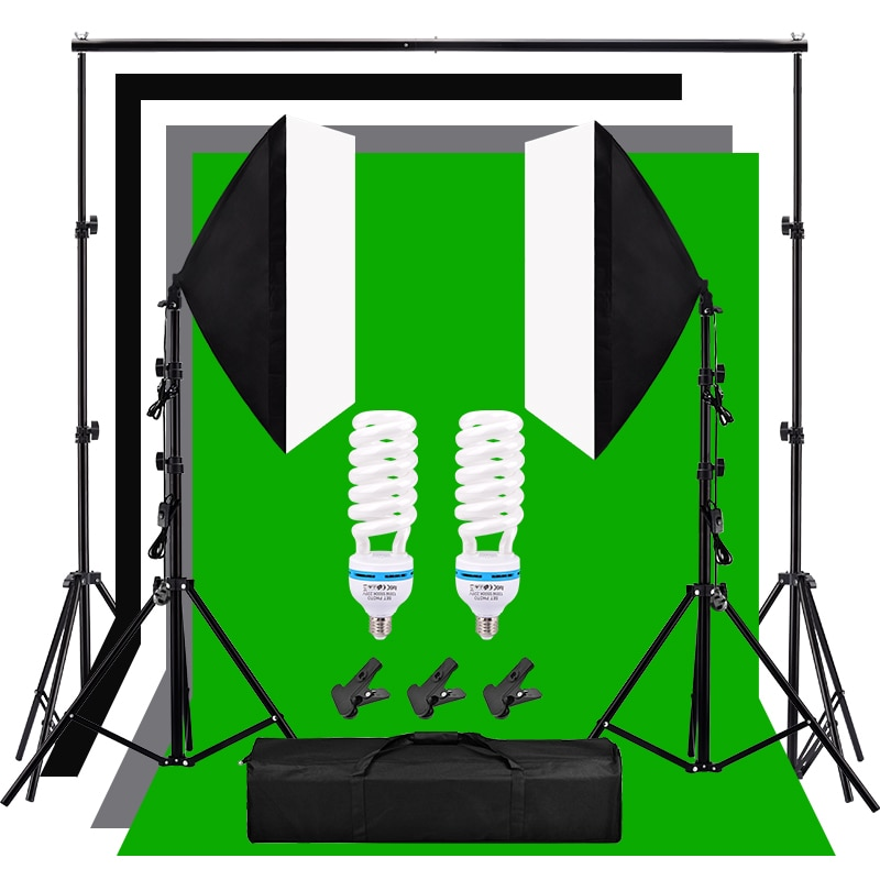 Kit de fondo de iluminación de estudio fotográfico 135W 5500K bombilla de luz diurna 2*2m telón de fondo Kit de iluminación Softbox