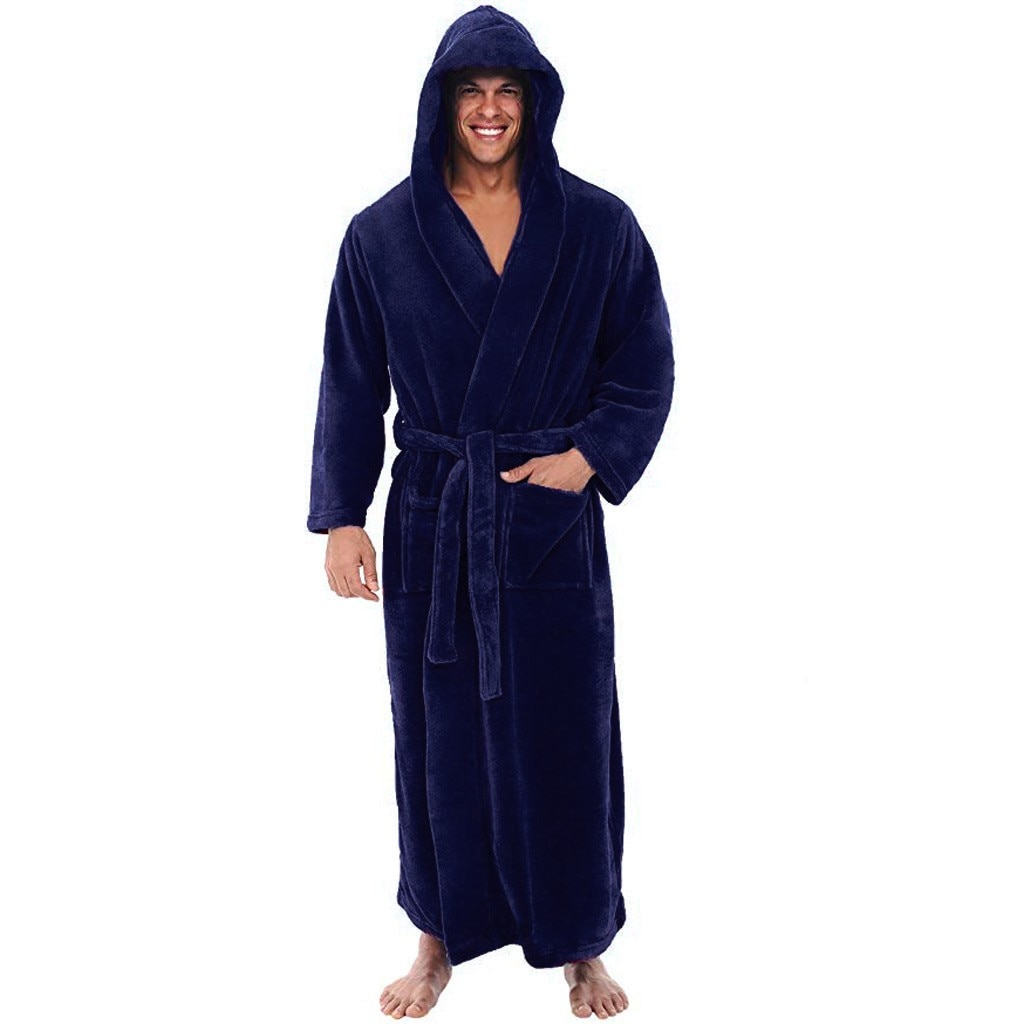 Мужчины% 27 пижамы зима плюш плюш шаль халаты дом одежда с длинными рукавами халат пальто для сохранения тепла и защиты от замерзания НОВИНКА 40% 2A