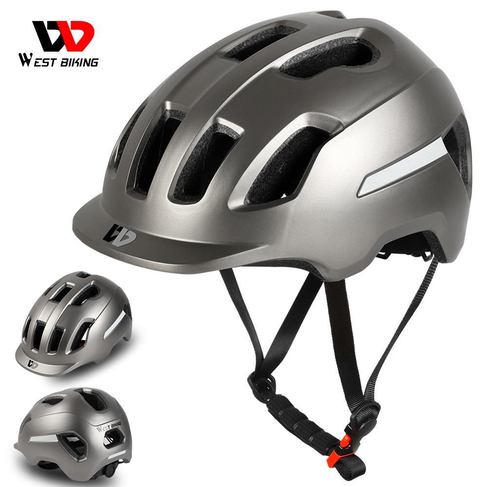 Casco de bicicleta WEST BIKING ultraligero ajustable seguridad en bicicleta eléctrica Cap MTB Mountain Road motocicleta hombres y mujeres casco de ciclismo