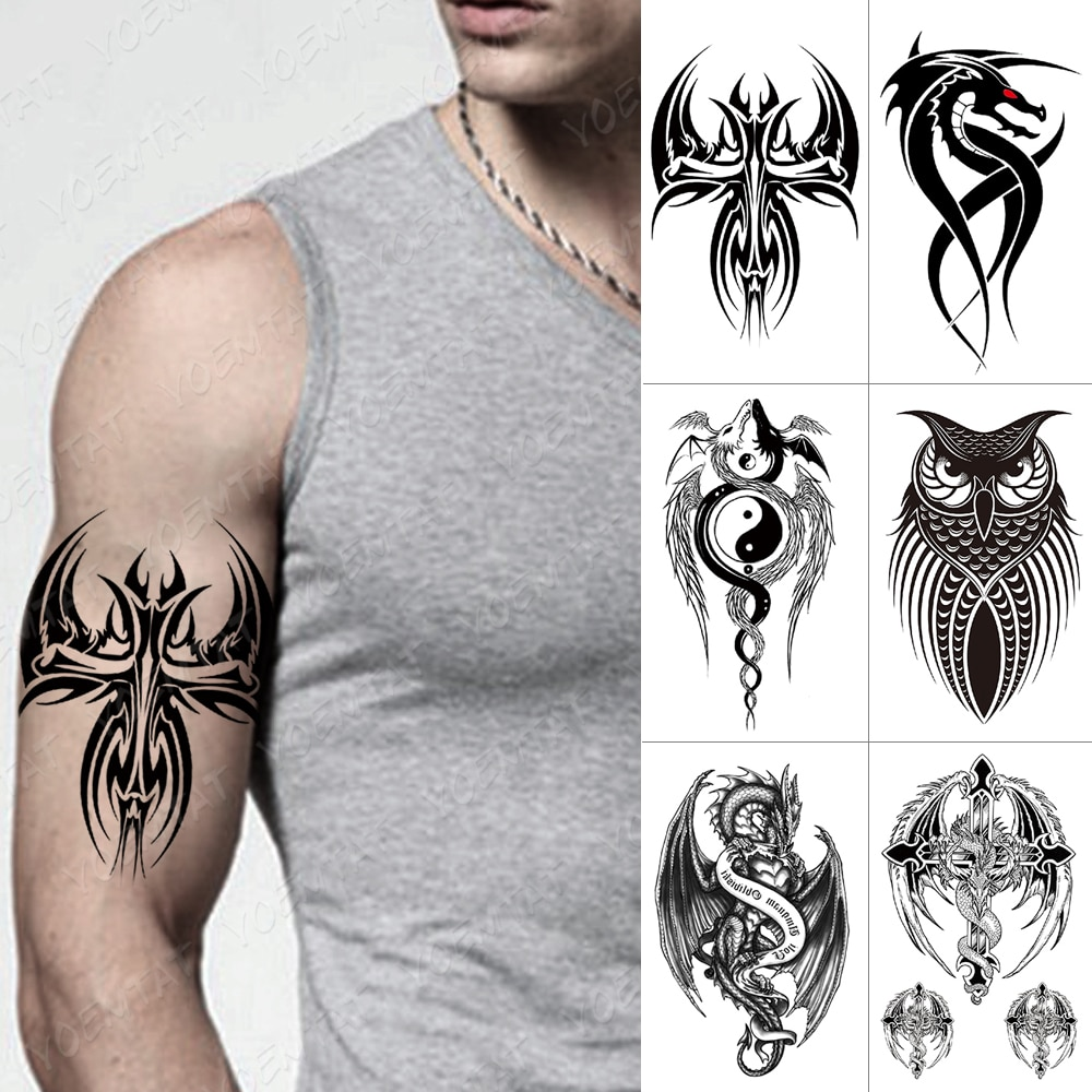 Tatuagem temporária à prova dwaterproof água adesivo cruz asas flash tatuagens lobo escorpião corpo arte braço coruja maori totem falso tatoo