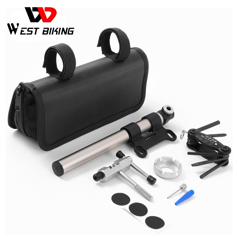 WEST BIKING Bicycle Multifunctional Tool Kits Set with Portable Storage Bag Bike Pump Chain Cutter Cycling Tire Repair Tools
