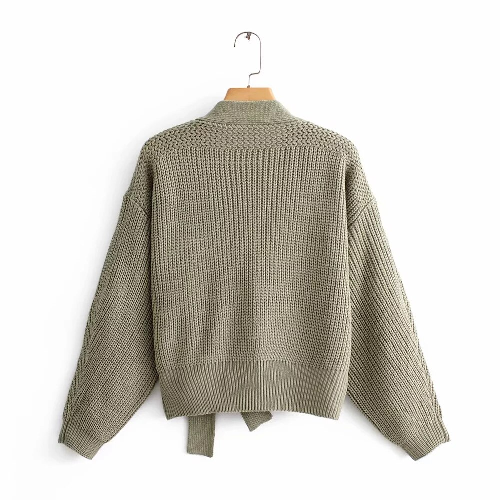 Top Quality Womens Green Sweater Long Sleeve Female Winter Cardigan with Sashes Chic Streetwear Womens  Knit Top Sweater enlarge