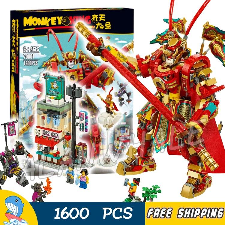 1600 Uds viaje al oeste MonkeyKid Rey Mono Guerrero Mech Robots 82220 bloques de construcción en miniatura chico ladrillo Compatible con Lago