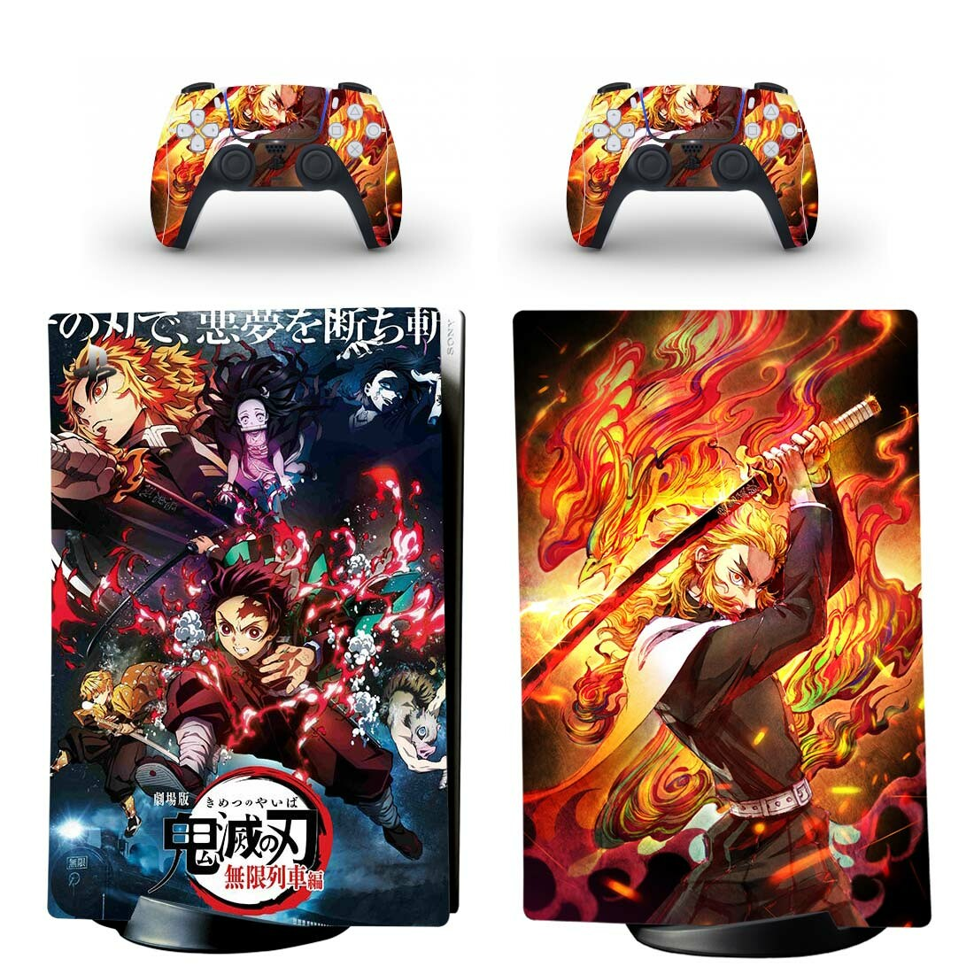 شيطان سلاير كيميتسو نو يابا PS5 ملصق الجلد الرقمي للبلاي ستيشن 5 وحدة التحكم و 2 وحدات التحكم لواصق الفينيل واقية