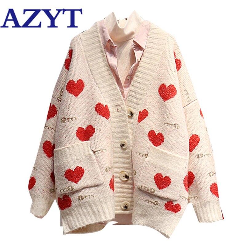 AZYT Love Printed Pocket Autumn Winter Sweater Cardigan Coat For Women 2020 Harajuku Loose V Neck Knit Female Cardigan Jacket