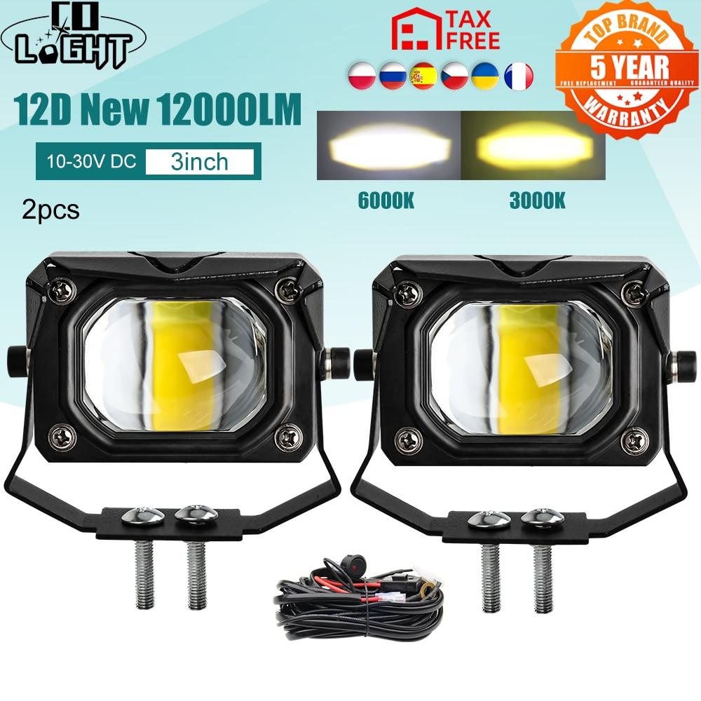 aliexpress.com - CO LIGHT 12D 3″ 100W Led Motocycle Headlight 6000K 3000K LED Work Light Fog Lamp 12000LM for Moto Scooters ATV Car Truck 12V 24V