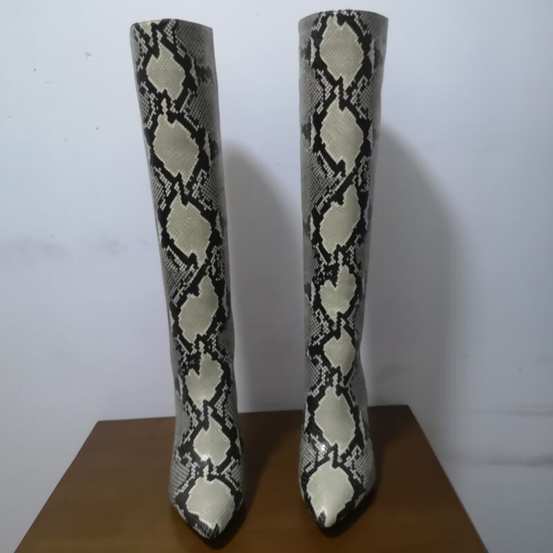 Costura em Relevo Grossas com Ponta Alta Couro Genuíno Snakeskin Grão Botas Femininas Moda Longas Sapatos Femininos Tamanho Grande