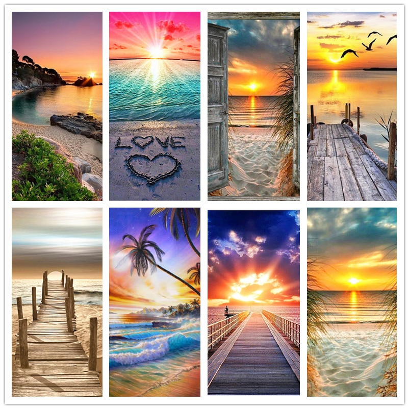 DIY 5D Diamond Painting Landscape Sunset Sea Kit Full Drill Embroidery Painting Art Picture of Rhinestones Home Decor Gift
