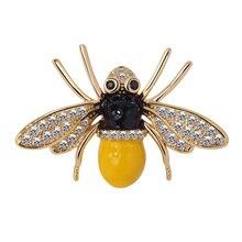Mode Kristall Bee Brosche Pins Für Frauen Designer Weibliche Kleidung Zubehör Die Candid, Die alte weisen Tropf prozess